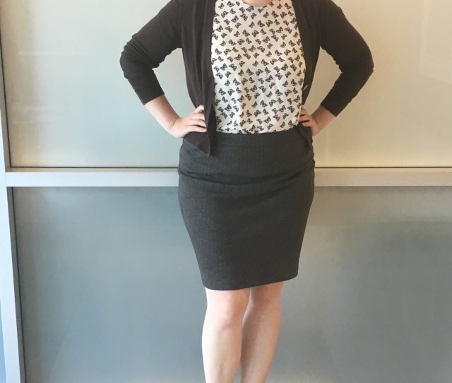 Butterfly Print Blouse With A Khaki Skirt And Brown Cardigan Pairs Well With My Lattice Booties